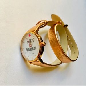 Kate Spade Rose Gold Leather Wrap Strap Watch
